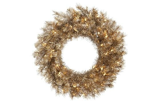 gold tinsel wreath mid-century modern christmas decor ideas