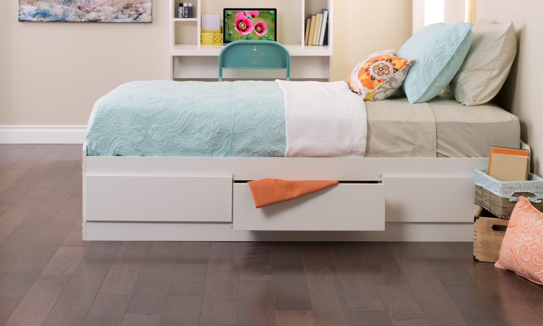 White storage bed