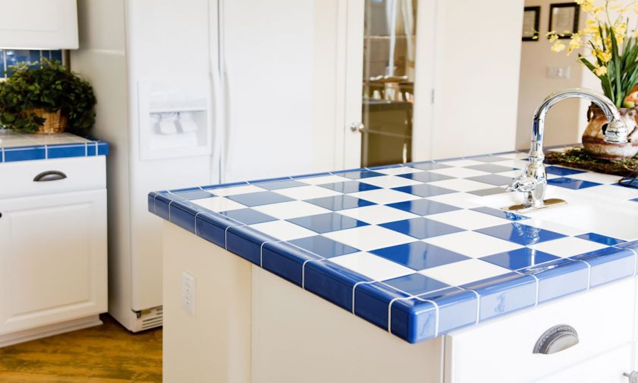Blue and white tiled countertop