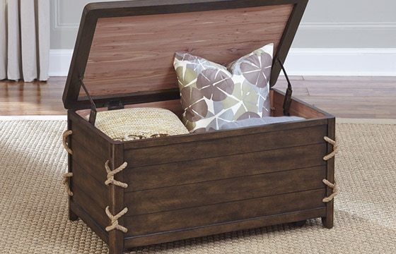A storage trunk in a coastal bedroom - Coastal Furniture and Decor Ideas