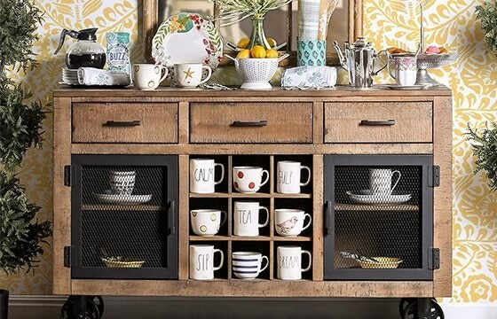 Wooden dining buffet coffee bar ideas