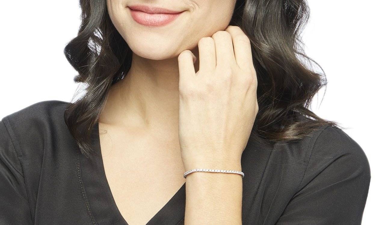 Woman wearing a cubic zirconia bracelet