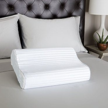 a contoured bed pillow