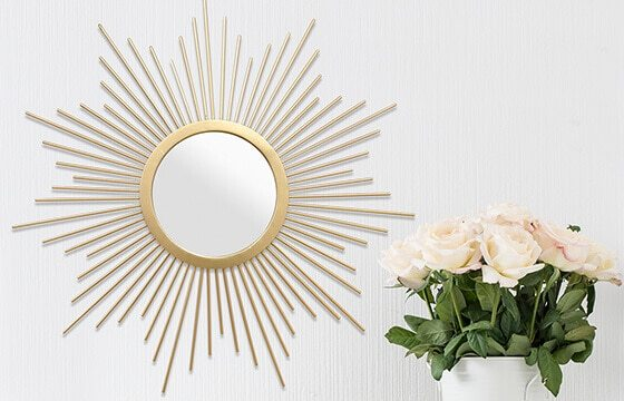 gold sunburst decorative wall mirror glam furniture and decor ideas