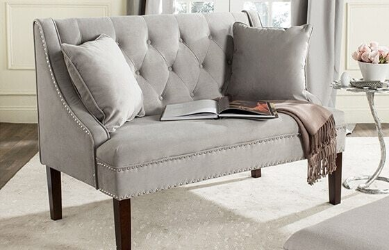 tufted grey velvet sofa glam room ideas