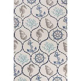A nautical pattern area rug- Coastal Furniture & Decor Ideas