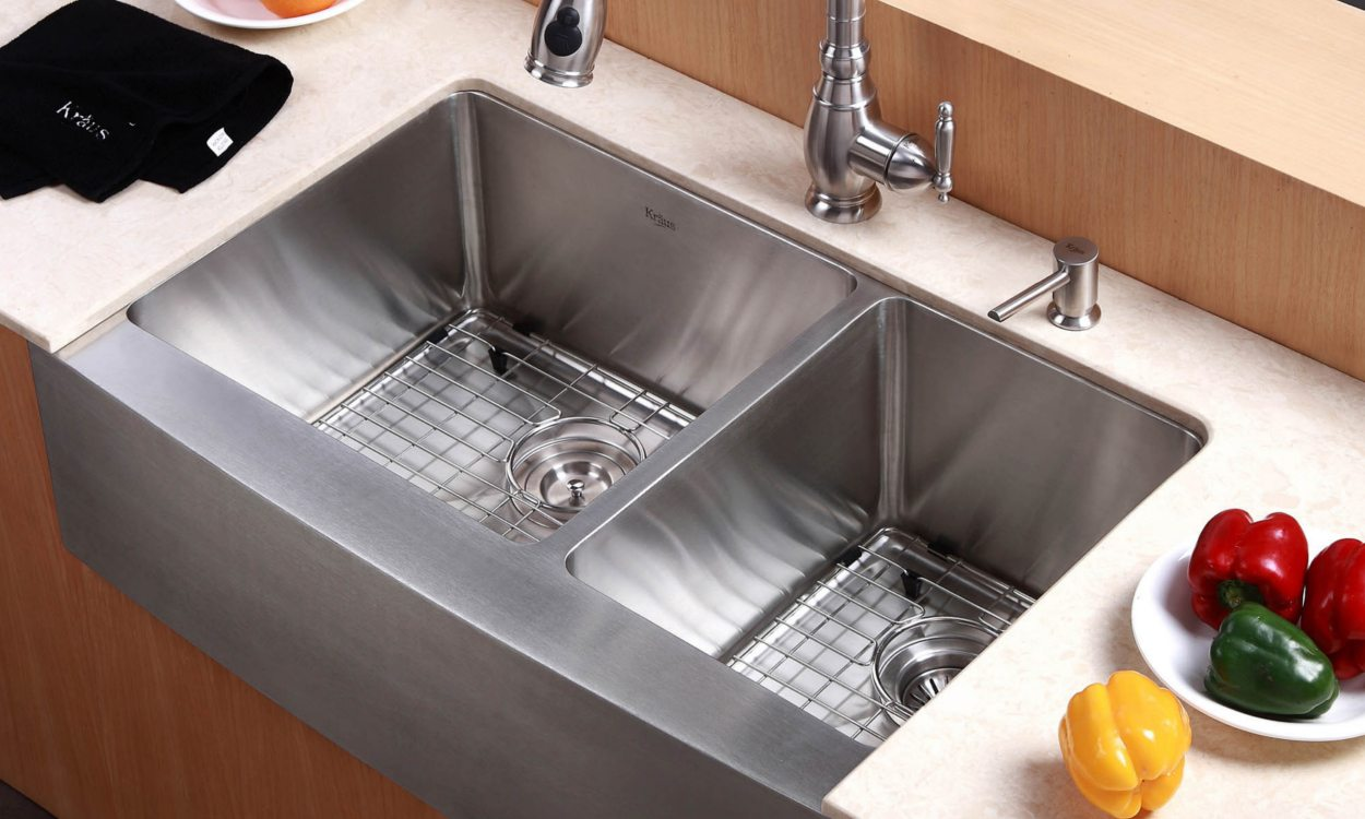 farmhouse sink in a kitchen