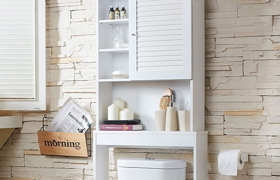 Over the toilet cabinet home storage solutions
