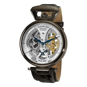 Manual watch with leather bands and a skeletal face