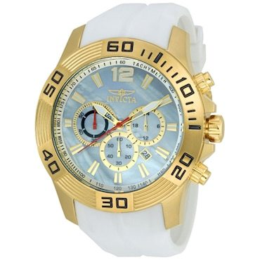 Gold Invicta water resistant watch with white band