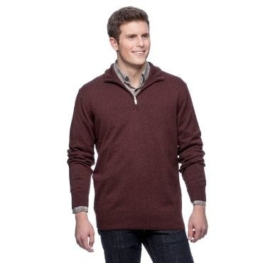 a man wearing a maroon sweater