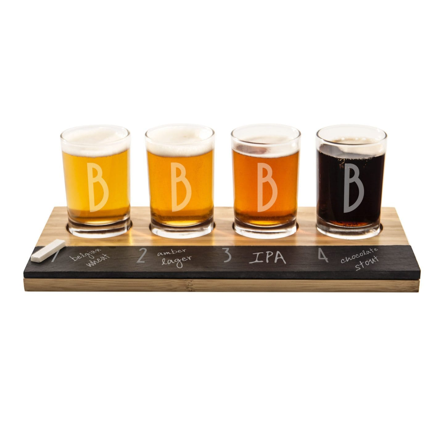 A personalized beer tasting flight board, perfect for a best man gift