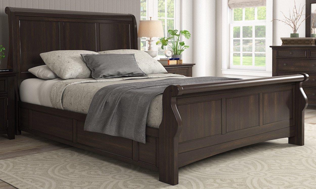 Dark brown sleigh bed