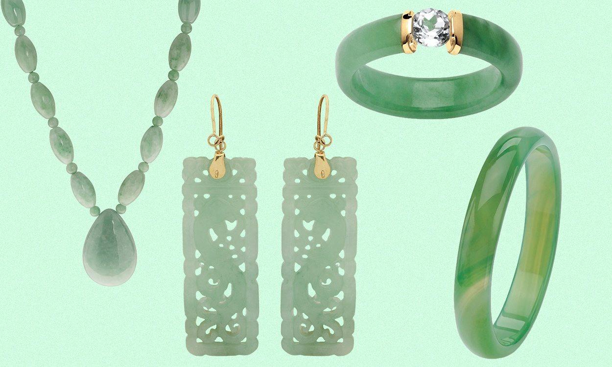 assortment of jade jewelry