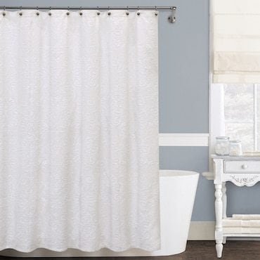 Extra-wide white shower curtains