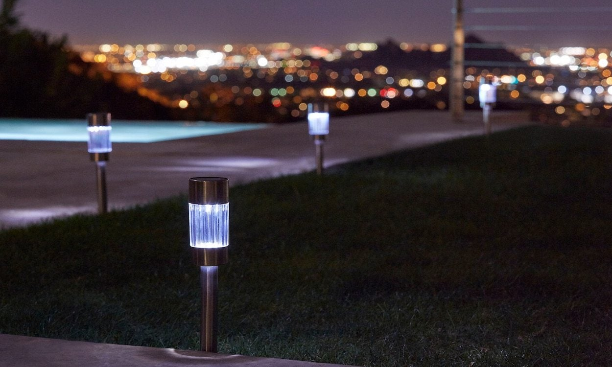 solar lights in a backyard