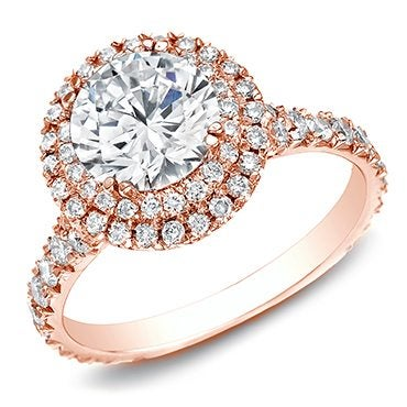 Rose gold double halo diamond ring best engagement rings for Christmas
