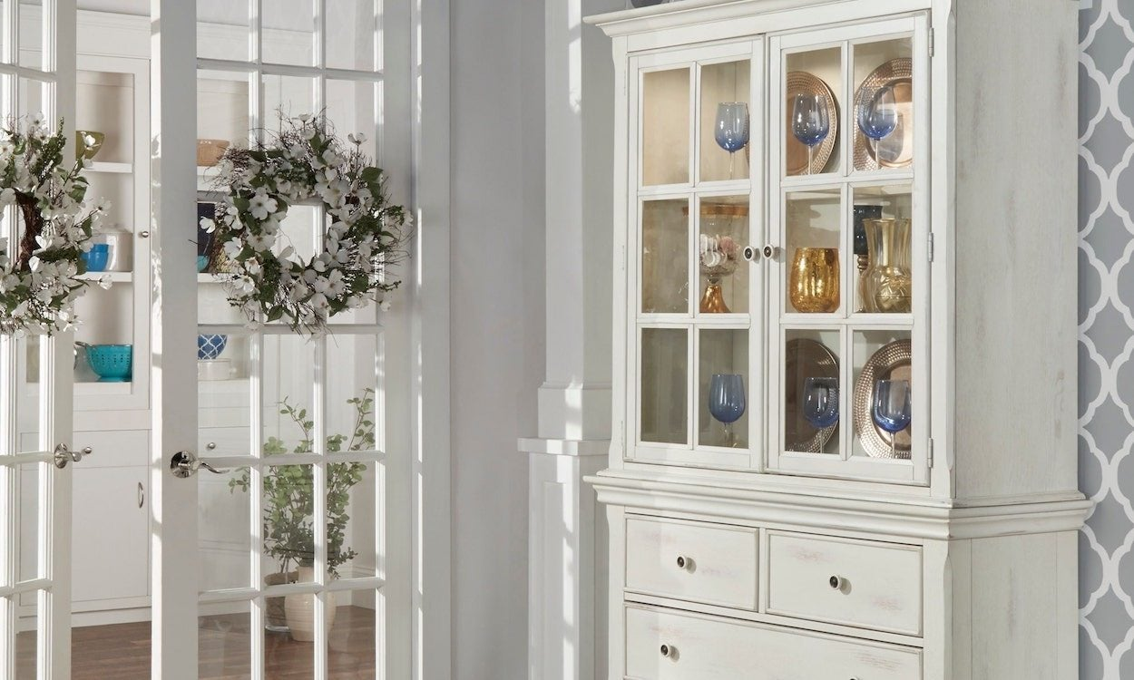 Antique White China Cabinet