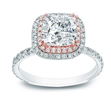 Two-tone cushion cut double halo diamond ring best engagement rings for christmas
