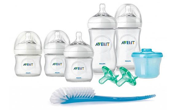 Set of baby bottles newborn baby essentials