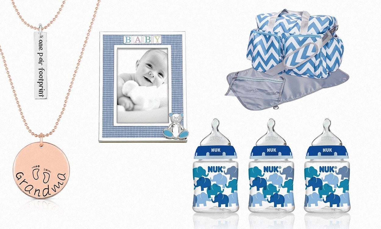 collage of baby products