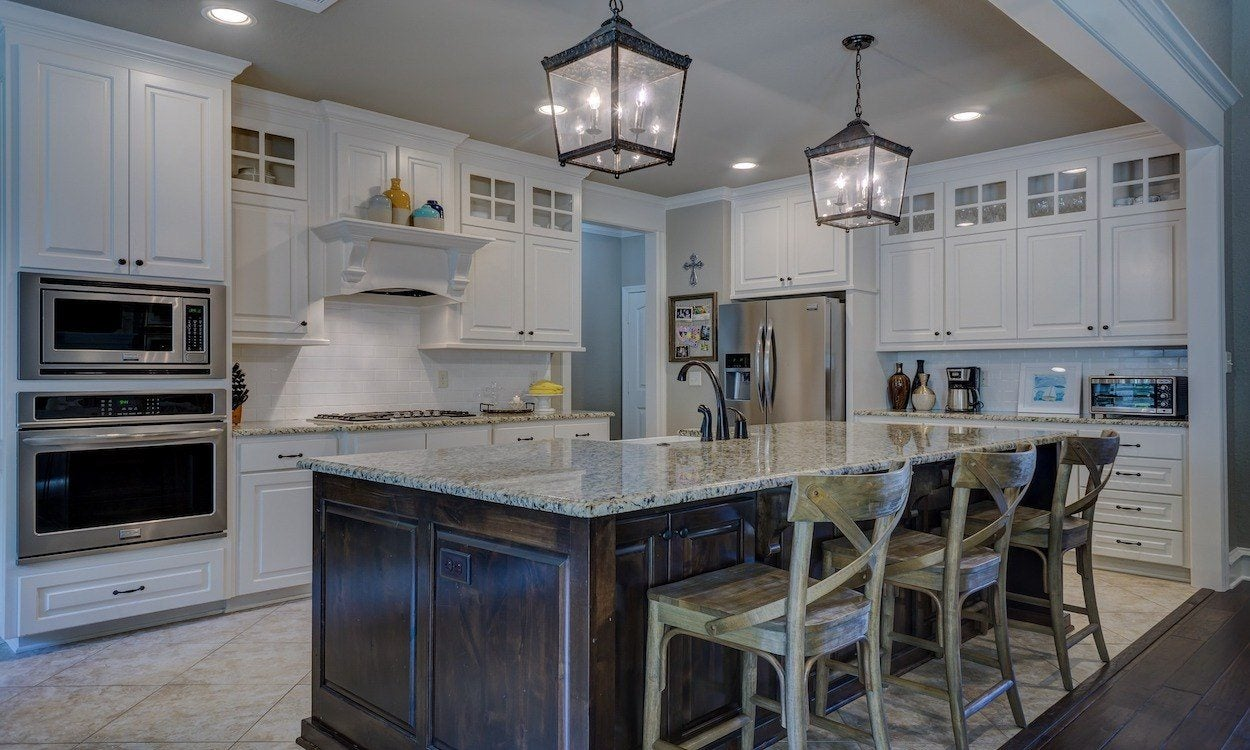 large kitchen with modern appliances