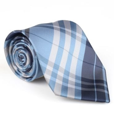 Blue plaid silk men's tie, the perfect stocking stuffer for men this Christmas