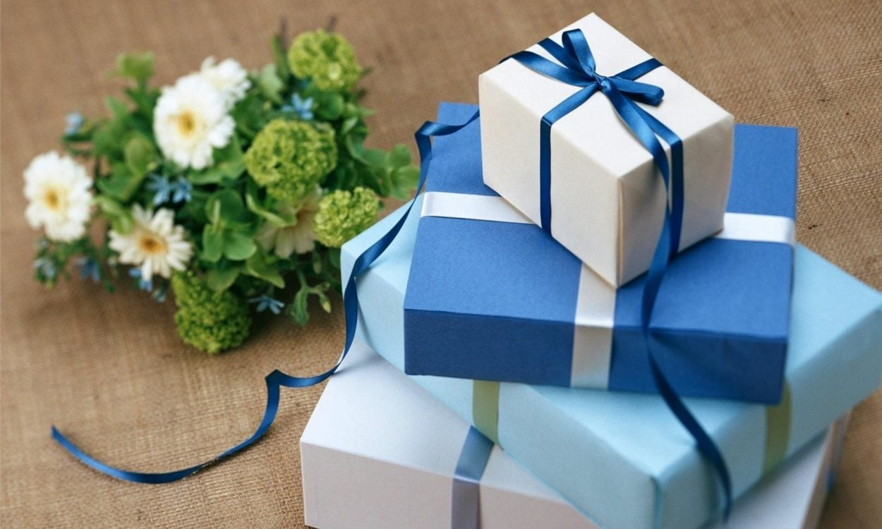 a stack of wrapped gifts