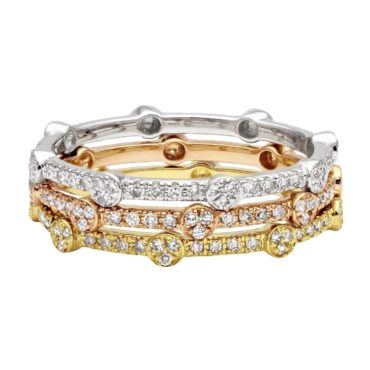 A set of stackable rings, a perfect christmas jewelry gift idea for her