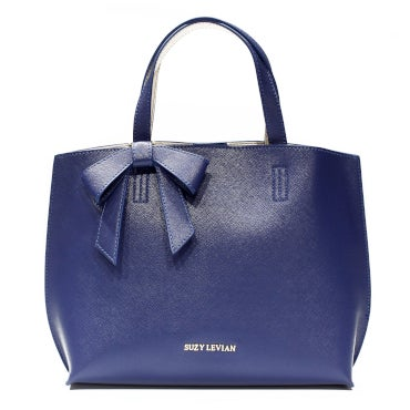 Navy tote bag with bow detail
