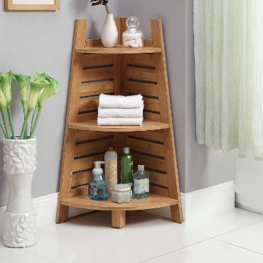 Bamboo bathroom corner shelf