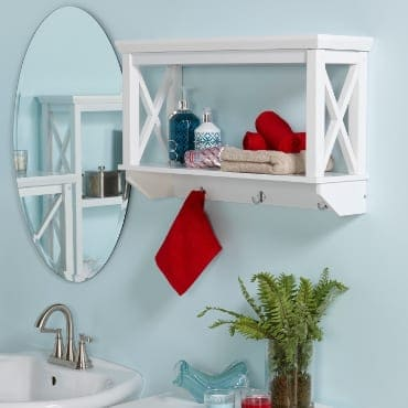 White floating bathroom shelf
