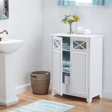 White bathroom free-standing shelves