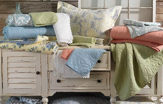 Patterned bedding for a shabby chic bedroom