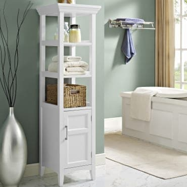 White bathroom storage shelves