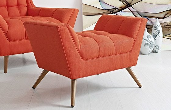 Red accent chair and foot stool with tapered legs Mid-Century Modern Living Room Ideas