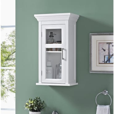 White wall-mounted bathroom shelf
