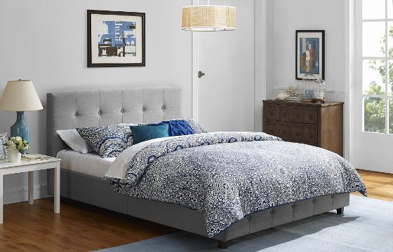 A grey tufted bed under $400