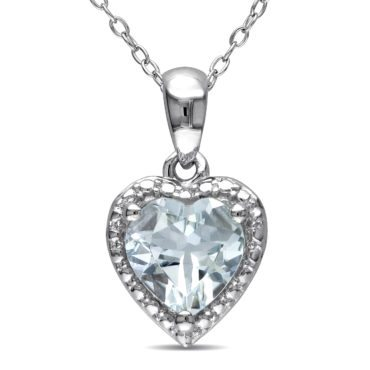 Aquamarine gemstone heart necklace is the perfect gift idea for your wife