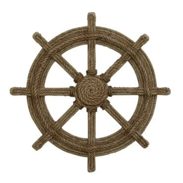 Wood and rope decorative ship wheel