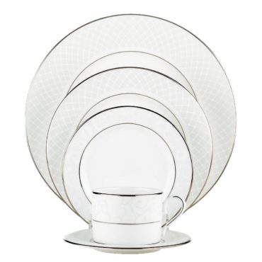 White and silver bone china dinnerware set