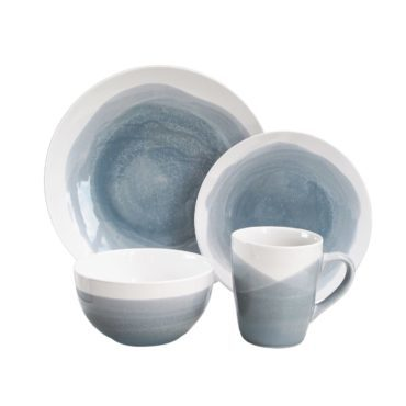 Blue and white earthernware dinnerware set