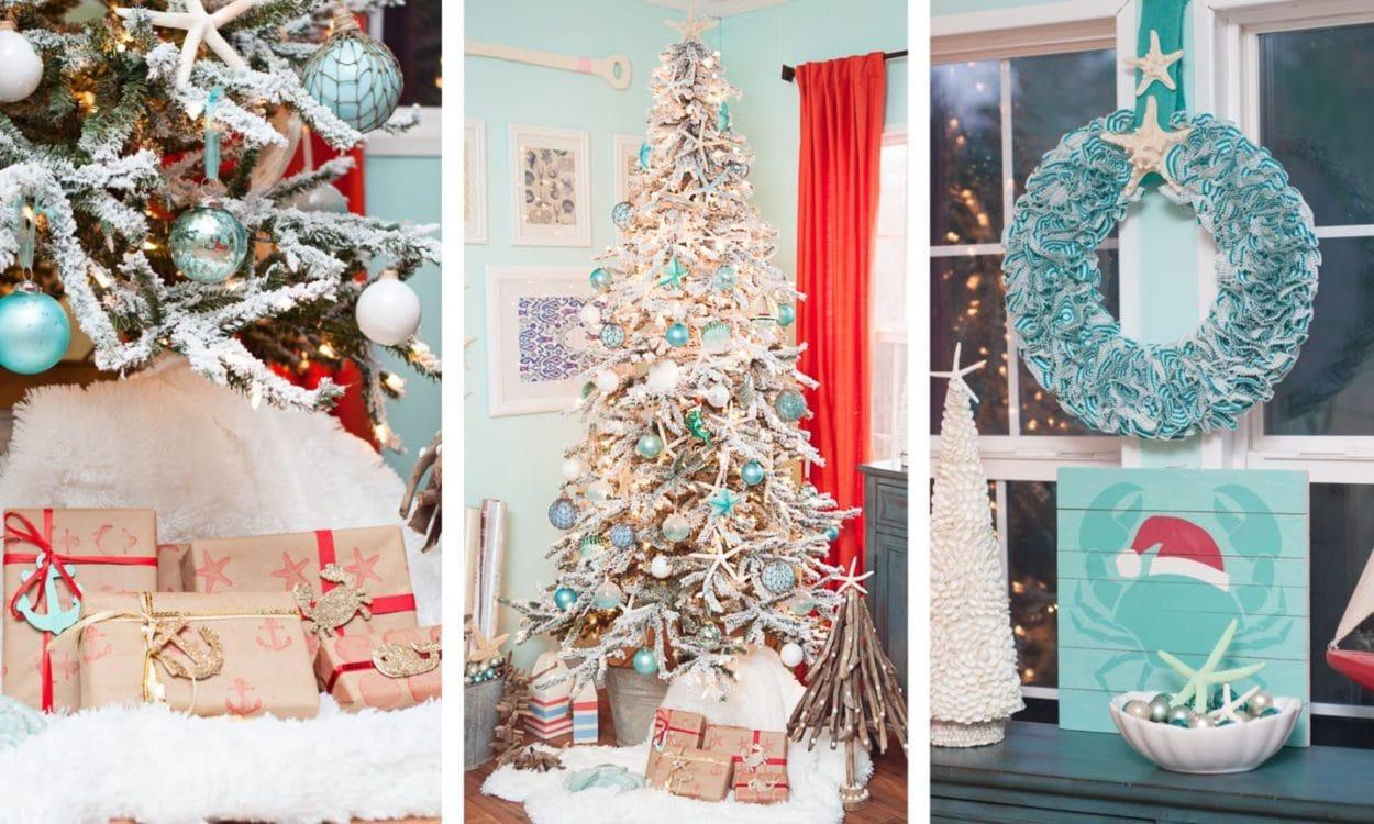 A Christmas tree decoated with coastal elements to create a beach Christmas