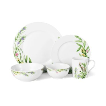 White and floral porcelain dinnerware set
