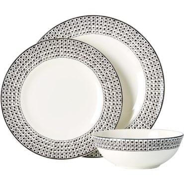 Black and white stoneware dinnerware set