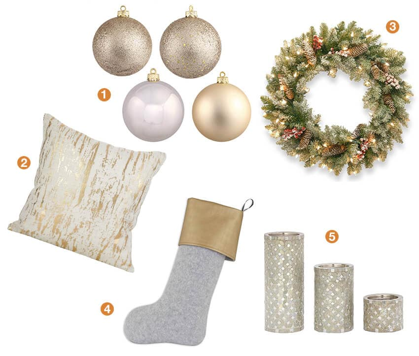 Collage of winter glam Christmas decorating ideas