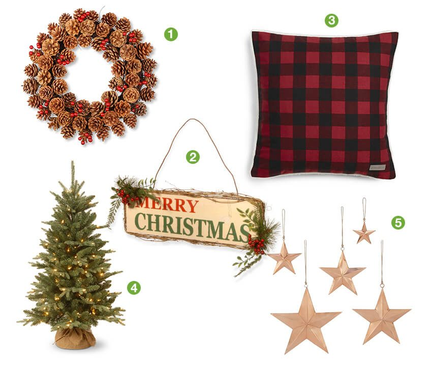 Collage of country christmas decorating ideas