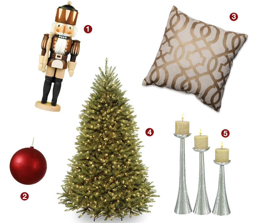 Collage of traditional Christmas decorating ideas