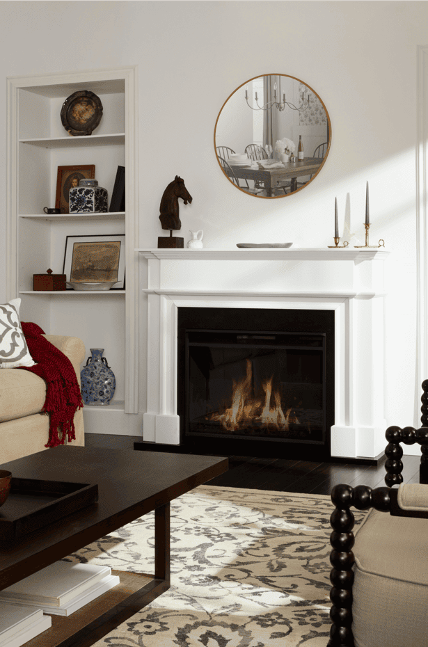New England Style Living Room with firplace