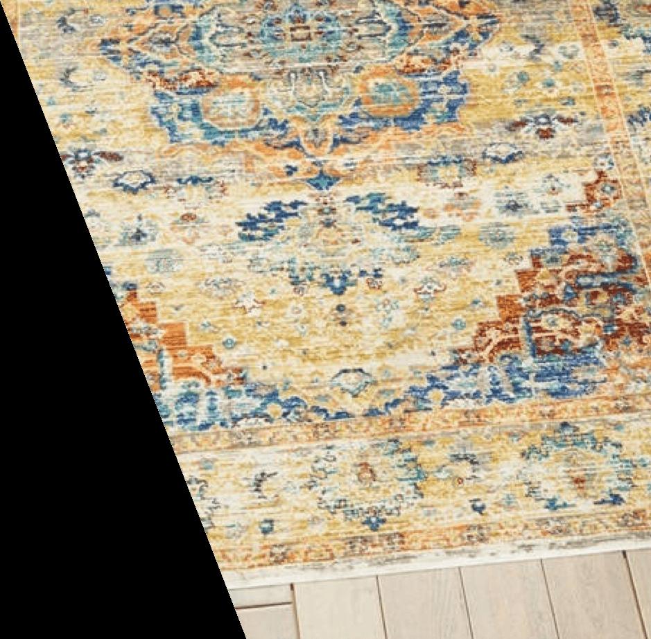 A grey and soft blue oriental rug
